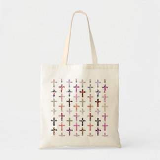 Vintage Retro Girly Floral Christian Crosses Tote Bag
