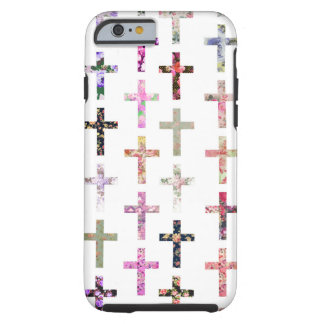 Vintage Retro Girly Floral Crosses Pattern Tough iPhone 6 Case