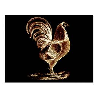 Vintage Retro Golden Rooster Altered Light Design Postcard