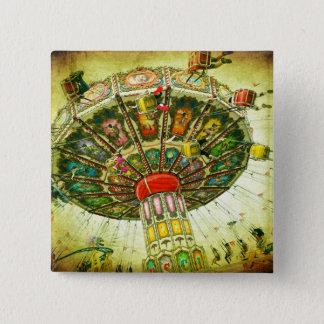 Vintage retro green sky carnival swing ride photo button