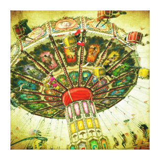 Vintage retro green sky carnival swing ride photo canvas print