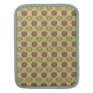 Vintage Retro Green Yellow Brown Circle Pattern Sleeves For iPads