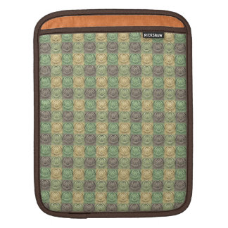 Vintage Retro Green Yellow Gray Circle Pattern Sleeves For iPads