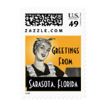 Vintage Retro Greeting Sarasota Florida Stamps