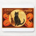 Vintage retro Halloween al feliz Halloween Alfombrilla De Raton