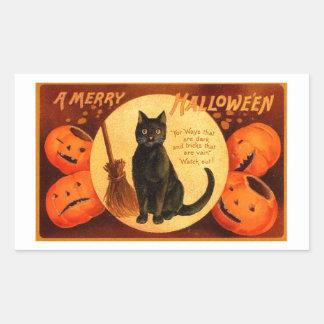 Vintage retro Halloween al feliz Halloween Pegatina Rectangular