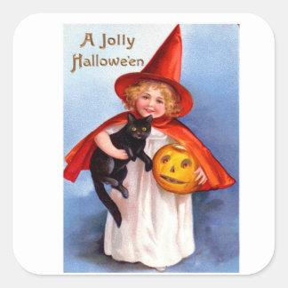 Vintage retro Halloween Halloween alegre Pegatina Cuadrada