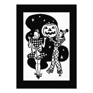 Vintage Retro Halloween Pumpkin Girls Cards