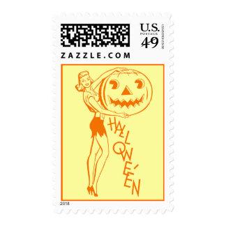 Vintage Retro Halloween Pumpkin Postage