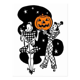 Vintage Retro Halloween Pumpkin Postcard