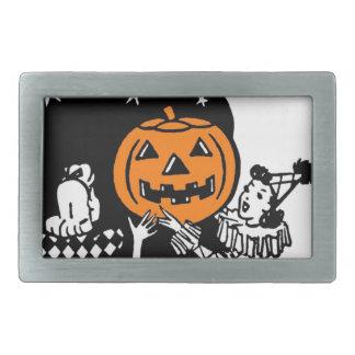 Vintage Retro Halloween Pumpkin Rectangular Belt Buckle