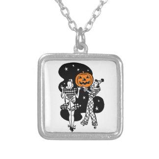 Vintage Retro Halloween Pumpkin Silver Plated Necklace