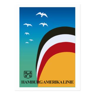 Vintage retro Hamburg America shipping line travel Postcard
