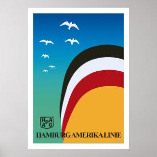 Vintage retro Hamburg America shipping line travel Poster