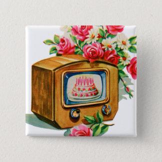 Vintage Retro Happy Birthday Birthday Cake TV Set Button