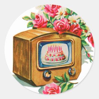 Vintage Retro Happy Birthday Birthday Cake TV Set Classic Round Sticker