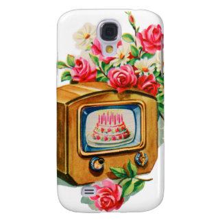 Vintage Retro Happy Birthday Birthday Cake TV Set Galaxy S4 Case