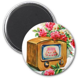 Vintage Retro Happy Birthday Birthday Cake TV Set Magnet