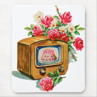 Vintage Retro Happy Birthday Birthday Cake TV Set Mouse Pad
