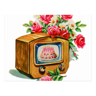 Vintage Retro Happy Birthday Birthday Cake TV Set Postcard