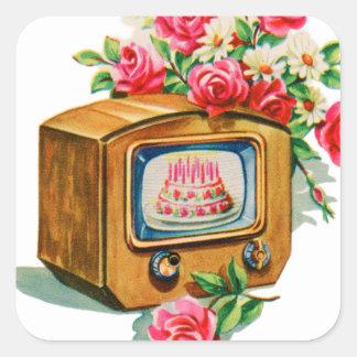 Vintage Retro Happy Birthday Birthday Cake TV Set Square Sticker