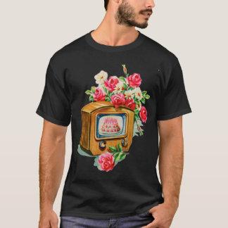 Vintage Retro Happy Birthday Birthday Cake TV Set T-Shirt