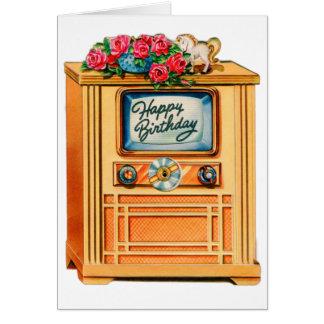 Vintage Retro Happy Birthday TV Television Set Greeting Card