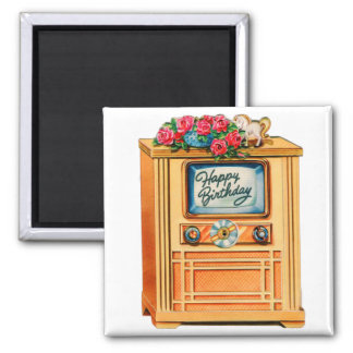 Vintage Retro Happy Birthday TV Television Set Magnet