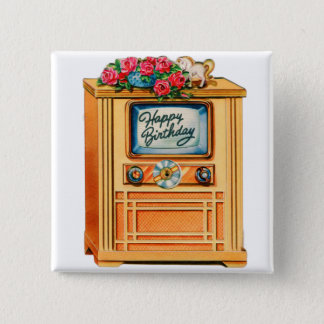 Vintage Retro Happy Birthday TV Television Set Pinback Button