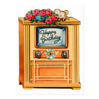 Vintage Retro Happy Birthday TV Television Set Postcard
