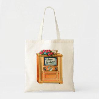 Vintage Retro Happy Birthday TV Television Set Tote Bag