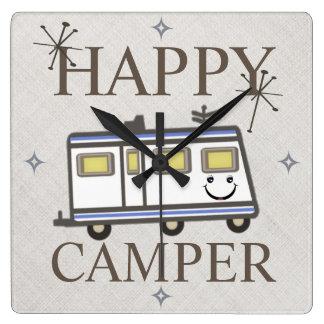 Vintage Retro Happy Camper Wall Clock