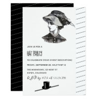 Vintage Retro Hat Party Invitation