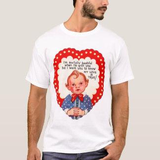 Vintage Retro Heart Valentine Awful Bashful Boy T-Shirt