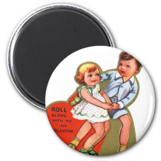 Vintage Retro Heart Valentine Roll Along With Me 2 Inch Round Magnet