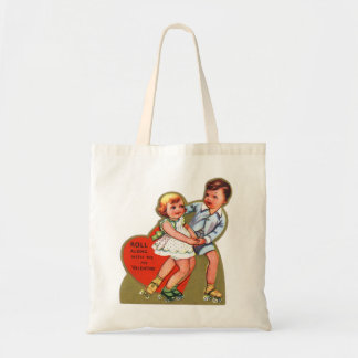 Vintage Retro Heart Valentine Roll Along With Me Tote Bags