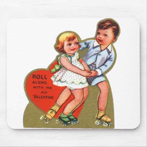 Vintage Retro Heart Valentine Roll Along With Me Mouse Pad