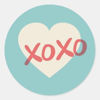 Vintage Retro Heart XOXO Valentine s Day Sticker