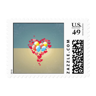 Vintage Retro Hearts Balloons Turquoise Blue Cream Stamp