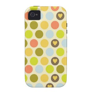 Vintage retro hearts polka dot dots heart pattern