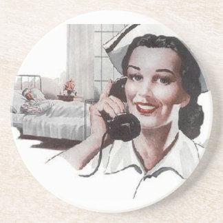 Vintage Retro Hospital Nurse Sandstone Coaster