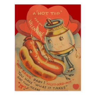 Vintage Retro Hot Dog Mustard Valentine Card