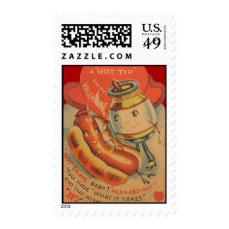 Vintage Retro Hot Dog Mustard Valentine Card Postage