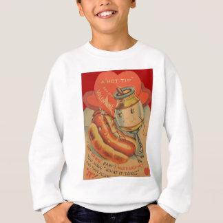 Vintage Retro Hot Dog Mustard Valentine Card Sweatshirt