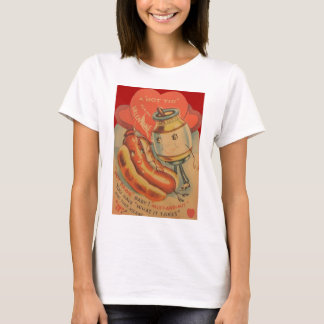 Vintage Retro Hot Dog Mustard Valentine Card T-Shirt