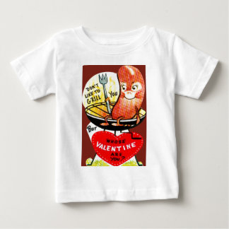 Vintage Retro Hot Dog On A Grill Valentine Card Baby T-Shirt