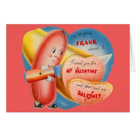 Vintage Retro Hot Dog Slicing Baloney Valentine Card
