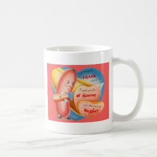 Vintage Retro Hot Dog Slicing Baloney Valentine Coffee Mug
