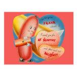 Vintage Retro Hot Dog Slicing Baloney Valentine Post Card