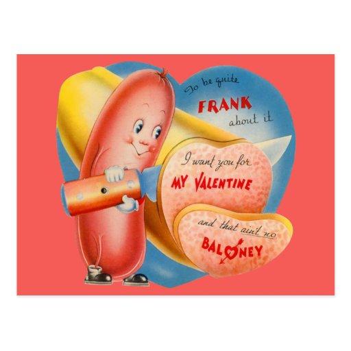 Vintage Retro Hot Dog Slicing Baloney Valentine Postcard